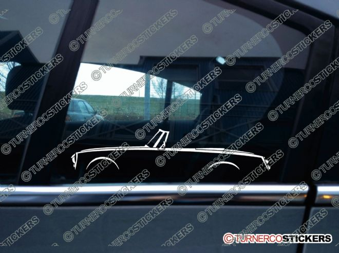 2x Classic Car Silhouette sticker - Datsun Fairlady sports 1500 / 1600 vintage roadster